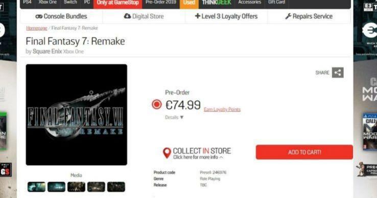 GameStop Ireland Might've Leaked Final Fantasy VII Remake