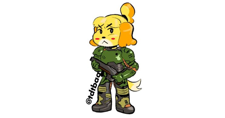 Doom 3 Animal Crossing 10 Fan Art Pics Of Doom Slayer Isabella As Bffs